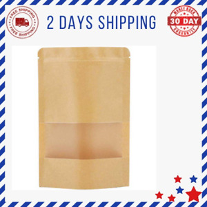 Self Sealing Paper Bags Kraft Stand Up Pouches With Window Zip Lock Coffee Bags