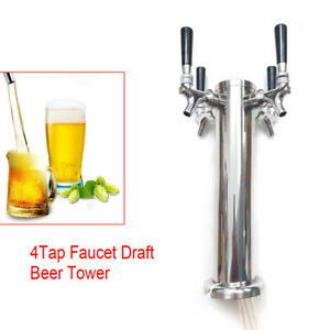 4 Tap Faucet Draft Beer Tower Stainless For 320mm Kegerator Home Brew Silver Usa