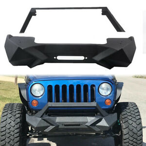 Front Bumper W Winch Plate Fit For 2007 2017 Jeep Wrangler Jk Unlimited