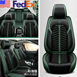 Black Green Pu Leather Car Seat Cover Full Surrounded Cushion Protector Mat Usa