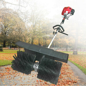 52cc Gas Power Sweeper Handheld Cleaning Driveway Turf Artificial Grass Broom Us