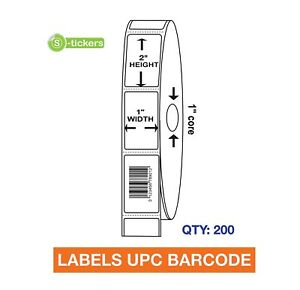200 Labels Upc Barcode Codes Numbers 1x2 Consecutive
