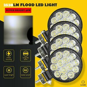4 X Led Work Light Flood Spot Lights For Truck Off Road Tractor Atv Round 48w