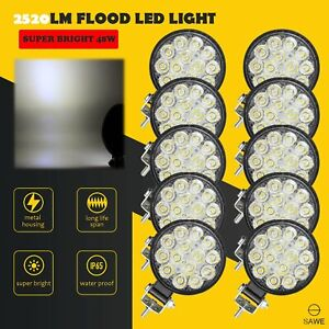 10 X Led Work Light Flood Spot Lights For Truck Off Road Tractor Atv Round 48w