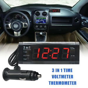 3 In 1 Car Clock Voltmeter Thermometer 12v 5w Led Digital Display Rechargeable