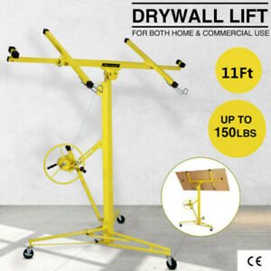 11ft Drywall Panel Lifter Hoist Jack Rolling Caster Lockable Diy Tool Yellow