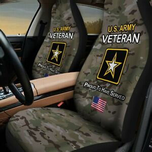 New Car Seat Cover Us Army Veterann Camo Theme Seat Protector Universal Fit 2pcs