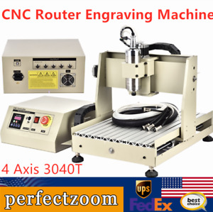 Cnc Router Engraving Machine Engraver Ball screw 3040t 4 Axis Desktop Carving Us