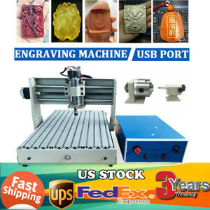 Cnc Router Engraver 4 Axis Usb 400w 3040 Cnc Engraving Drilling Milling 110v Us