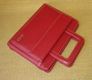 Classic Franklin Covey Red Faux Leather 1 125 Rings Zip Planner binder Handle