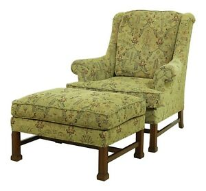 52243ec Hickory Chair Co Chippendale Mahogany Chair Ottoman