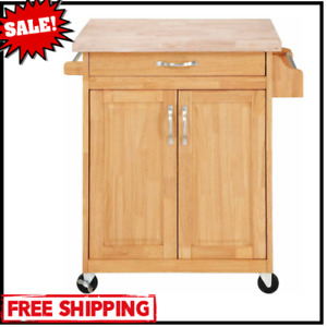 Kitchen Rolling Cart Storage Microwave Stand Wheels Cupboard Drawer Natural Wood