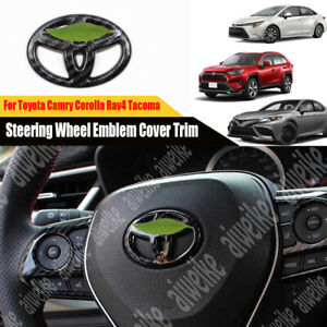 Carbon Steering Wheel Emblem Cover Trim For Toyota Camry Corolla Rav4 Tacoma