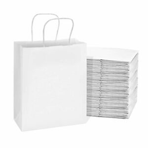 100 Pcs White Paper Bags Kraft With 8x4x10 Inches Handles For Shopping Retail