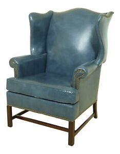 52270ec Hickory Chair Co Blue Leather Chippendale Mahogany Wing Chair