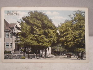 Janesville Wisc Wisconsin Main St Looking South Early Postcard 1921