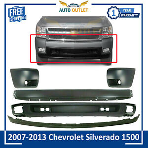 Front Primed Bumper Cover Valance End Cap Kit For 2007 2013 Chevy Silverado 1500
