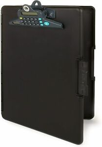 Dexas Slimcase 2 Storage Clipboard With Side Opening Black With Calculator