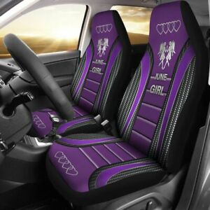 New Car Seat Cover June Girl Purple Theme Seat Protector Universal Fit 2pcs
