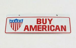 1970s Usa Buy American Patriotic License Plate Topper Sign