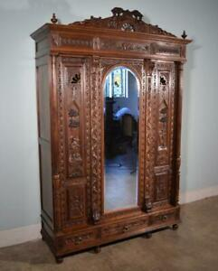 Antique French Breton Brittany Wardrobe Armoire In Solid Chestnut Wood