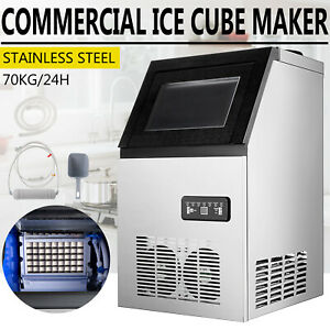 Built in 150lb Commercial Ice Maker Undercounter Ice Cube Machine W Water Pipes