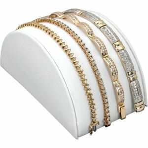 White Faux Leather Bracelet Half Moon Jewelry Display Ramp Stand 5 X 2 1 2