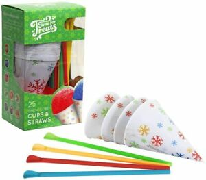 Vkp1125 Snow Cone Cups And Straws Small Multicolor Free Shipping