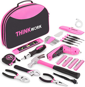 122 Piece Pink Tool Kit With 3 6v Rotatable Electric Screwdriver Ladies Home