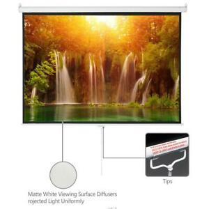 100 In 4 3 Projector Projection Screen Pull Down 1 3 Gain Home Theater Movie