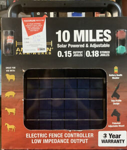 American Farm Works 10 Miles Electric Fence Controller Solar Powered adjustable