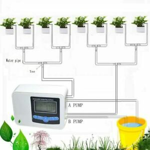 Smart Automatic Drip Irrigation Solar Energy Watering Timer System Dual Pump Usb