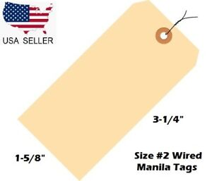 Pack Of 100 Size 2 Manila Inventory Shipping Hang Tags With Wire 3 1 4 X 1 5 8