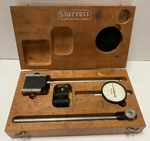 Starrett 657ez Indicator And Magnetic Base With Wooden Case And Original Box