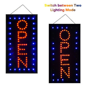 Led Neon Open Sign For Business Store Vertical Lighted Indoor Light Ultra Brigh