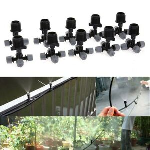 10pcs 4 Outlet Micro Spray Cooling Garden Irrigation Sprinkler W Connector