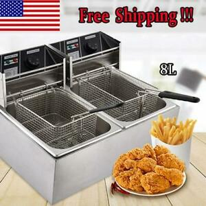 2x8l Electric Deep Fryer Dual Tank Stainless Steel Dual 2 Fry Basket Commercial