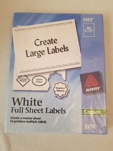 Avery Copier Full sheet Labels 8 1 2 X 11 White 100 In Box 5353 Create Large