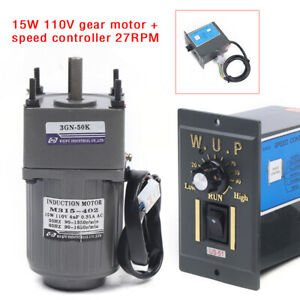 110v 15w Gear Motor Electric Variable Speed Controller Torque Large 1 50 27rpm