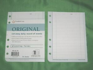 Compact 57 Pages Cut Away Daily Record Of Events Franklin Covey Planner Fill