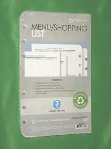 Compact 50 Pages Menu Shopping List Franklin Covey Planner Refill New