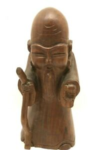 Asian Chinese Hand Carved Wood Statue Wise Man Collectible 10 1 2 Figurine
