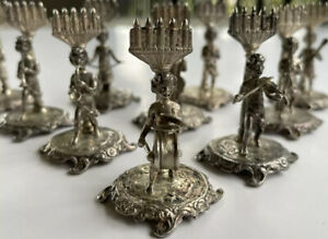 Antique Binder Brothers Sterling Silver Place Card Holders Set Of 9
