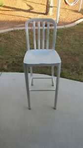 Brushed Aluminum High Back Indoor Outdoor Bar Stool Chair