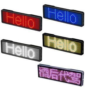 Diy Programmable Scrolling Trademark Mini Led Display Rechargeable Name Sign Tag