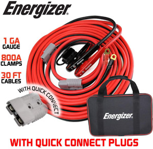 Jumper Cables Heavy Duty Battery Booster 1 gauge 30 Ft Quick Connect Disconnect