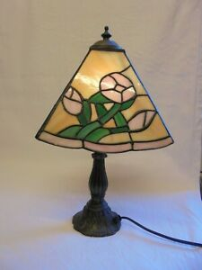 Vintage Tiffany Style Art Nouveau Leaded Stained Glass Pink Flower Table Lamp