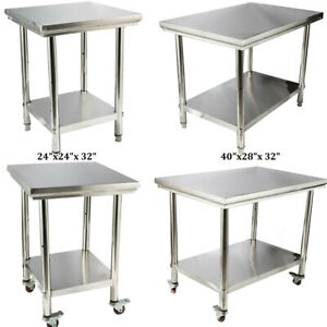 4 Style Stainless Steel Work Prep Table Station Commercial Kitchen Restaurant Us