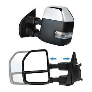 Towing Mirrors For 2017 2018 2019 2020 Ford F 250 Sdpower Heated Signal Chrome