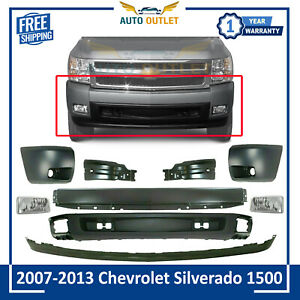 Front Bumper Primed Valence Kit Cover Fogs For 07 13 Chevy Silverado 1500